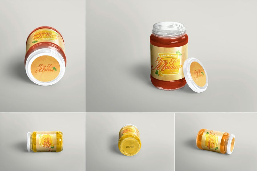 4 Realistic Jam Jar Mockups