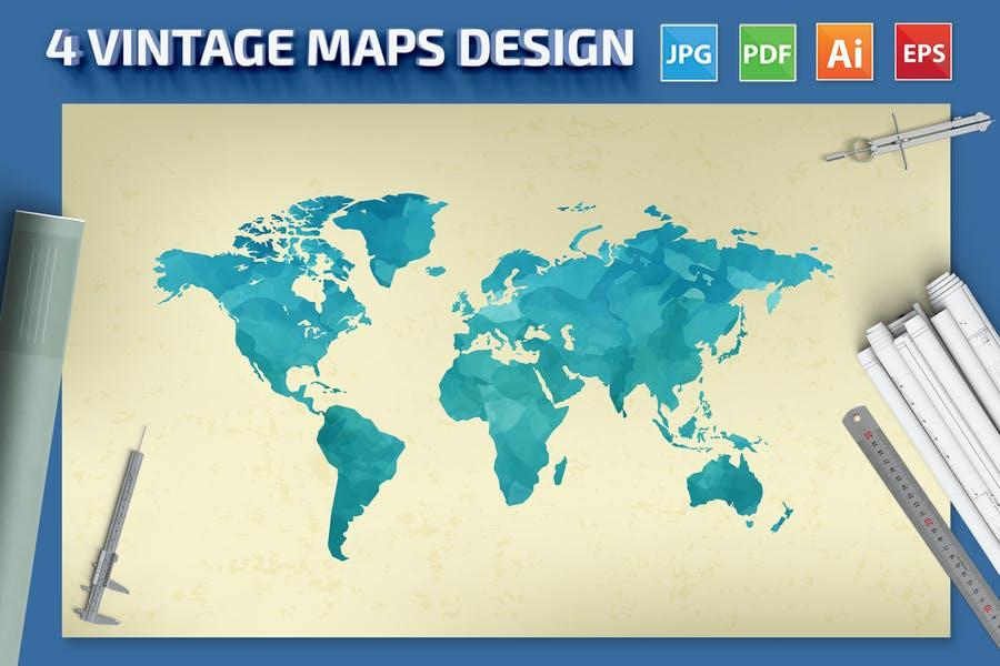 4 Vintage Map Designs