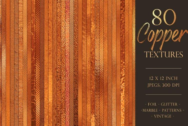 80 Metallic Copper Textures Bundle