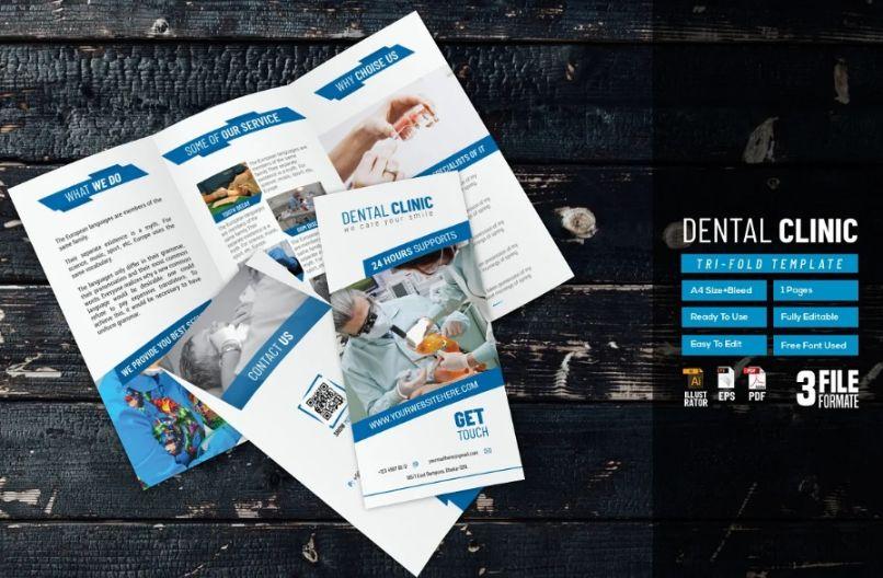 A4 Dental Brochure Designs