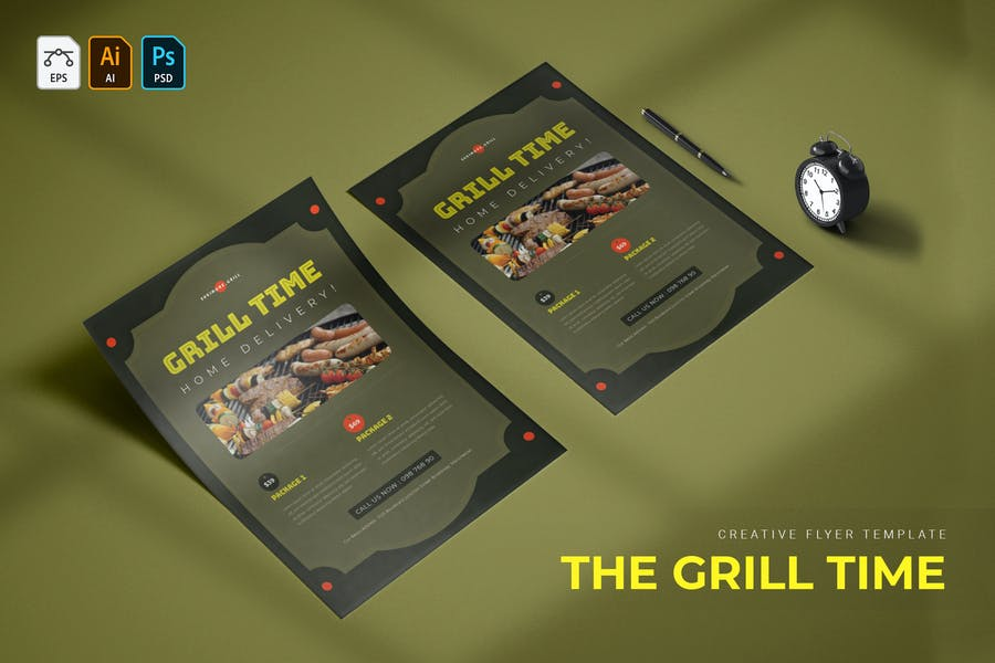 A4 Grill Flyer Templates
