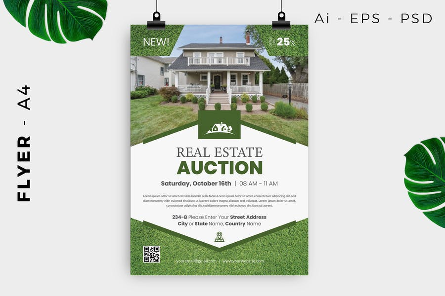 A4 Real Estate Auction Flyer