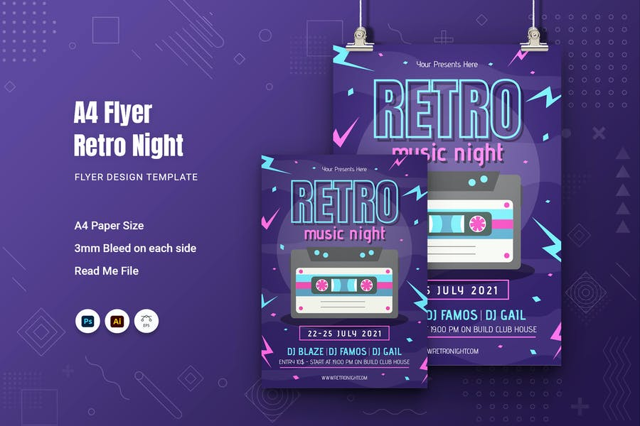 A4 Retro Night Flyer