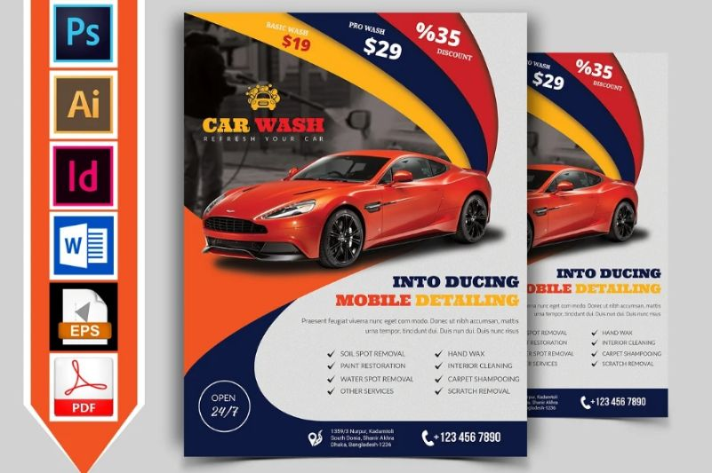 A4 and A5 Car Wash Promotional Designs