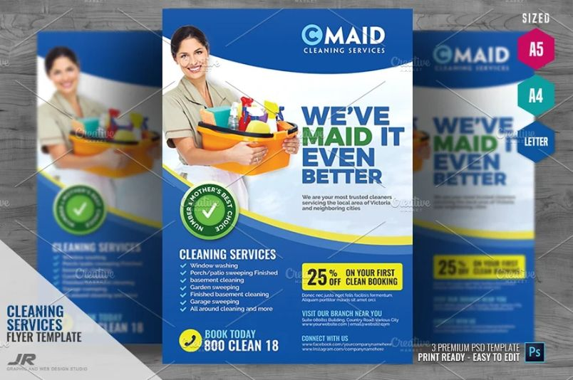 A4 and A5 Cleaning Services Flyer Template