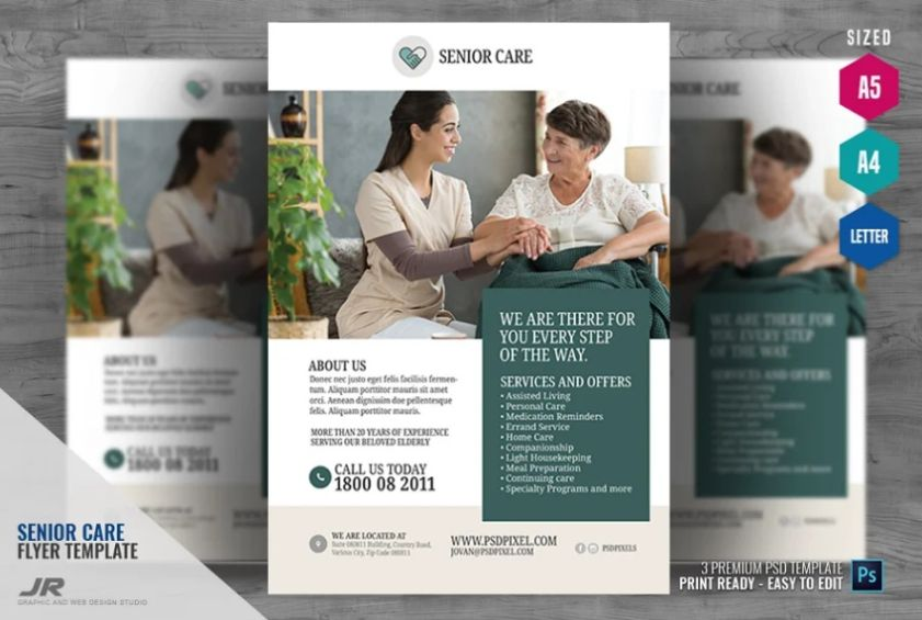 A4 and A5 Senior Care Flyer Template