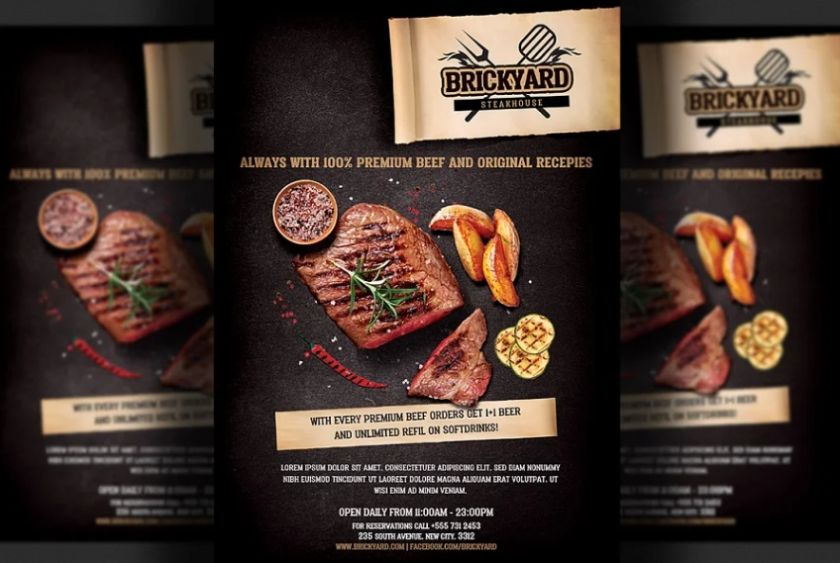 A4 and A5 Steak House Ad Flyer