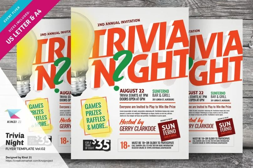 A4 and US Letter Trivia Night Flyer