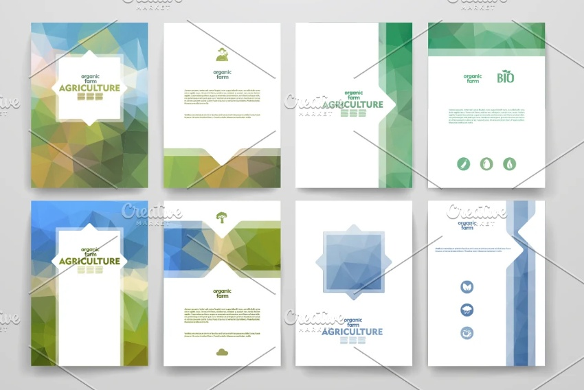 Abstract Agricultural Brochures Set