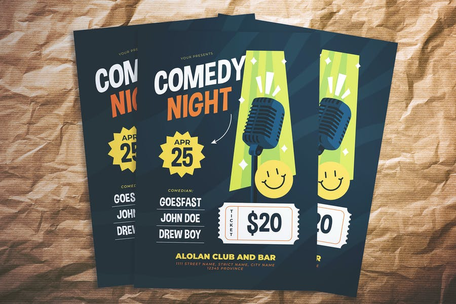 Ai and PSD Comedy Flyer
