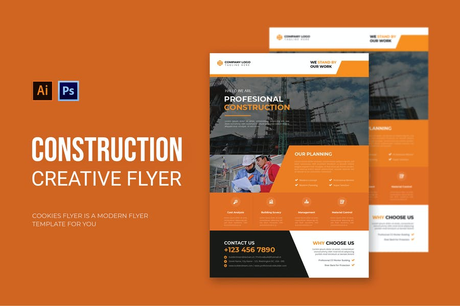Ai and PSD Construction Flyer