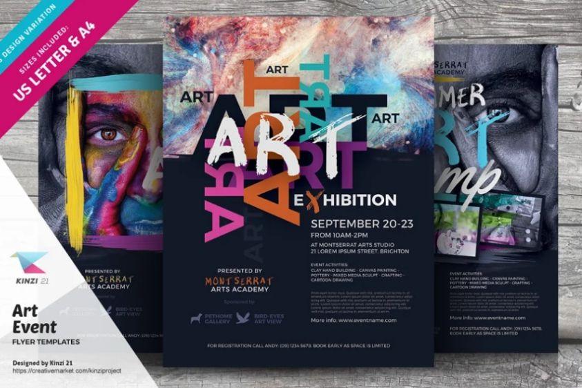 Art Auction Event Flyer Design