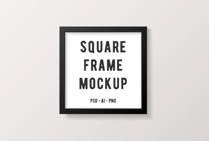 Black Square Frame Mockup PSD