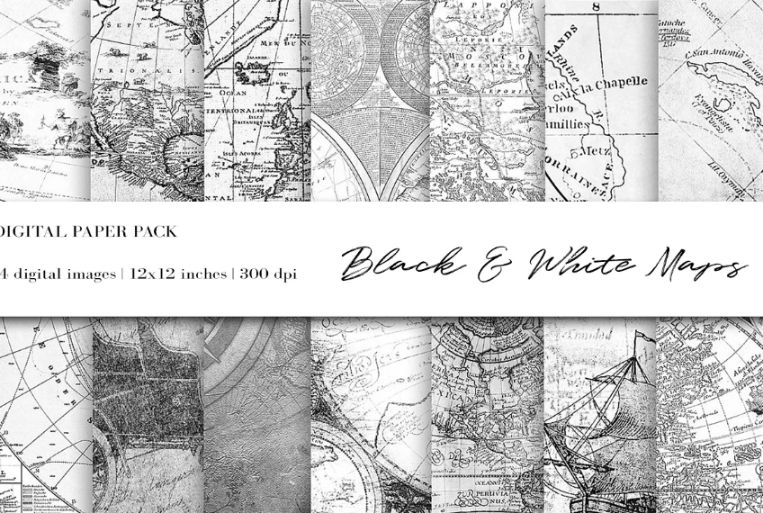 Black and White Maps Graphics