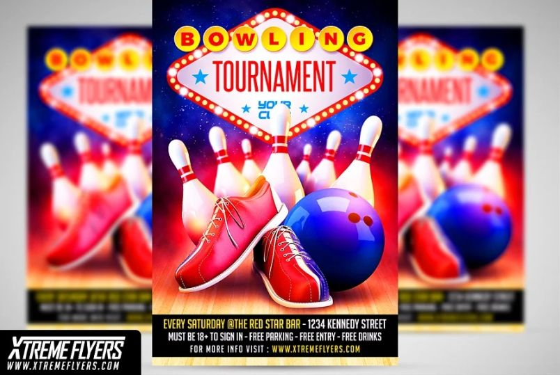 Bowling Event Flyer Templates