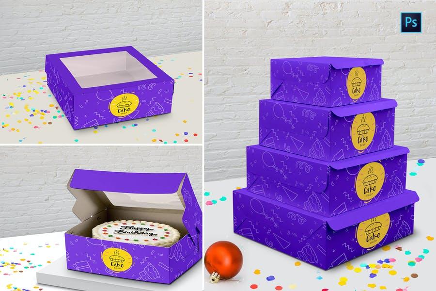 Cake Box Packaging Mockup PSD