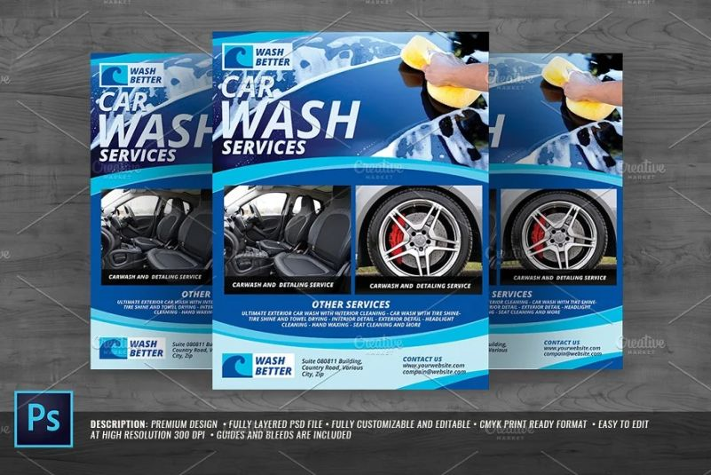 Car Wash Commercial Flyer Template