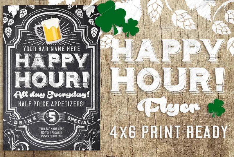 Chalk Happy Hours Flyer Design