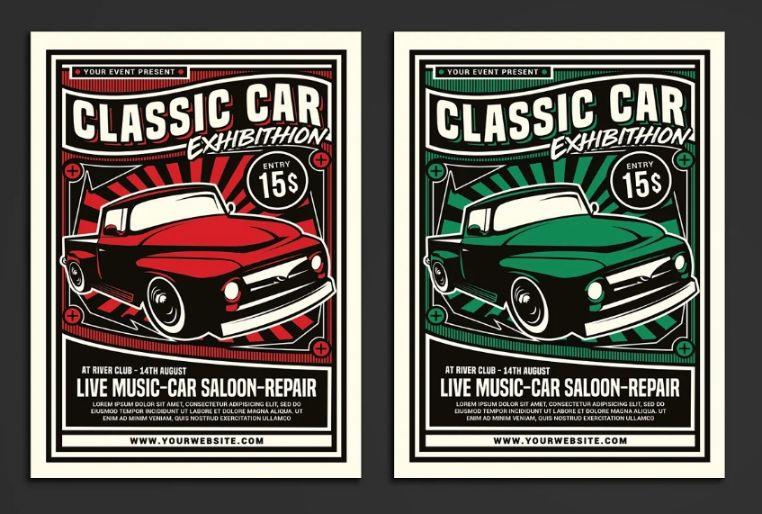 Classic Car Auction Flyer Design