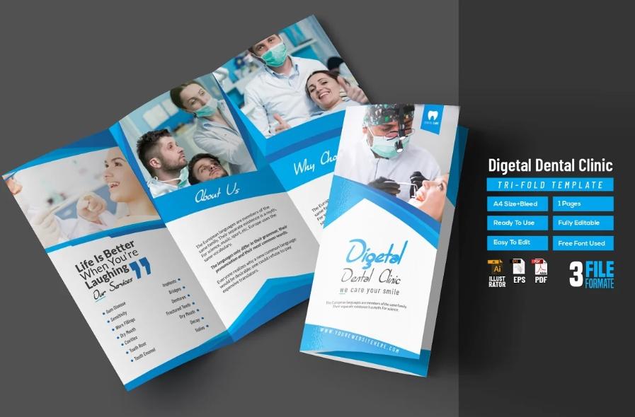 Clean Dental Tri Fold Promotional Brochures