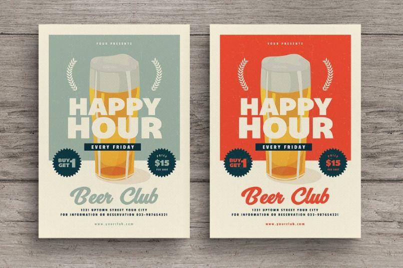 Club happy Hour Flyer Templates