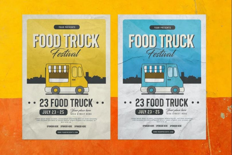 Colorful Food Truk Ad Flyer