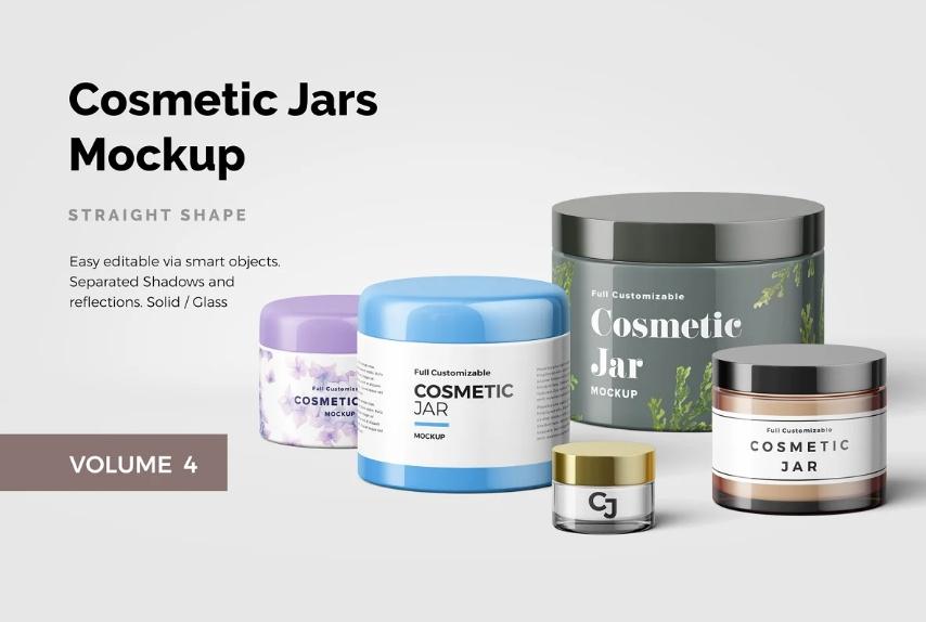Cosmetic Jars Mockup PSD
