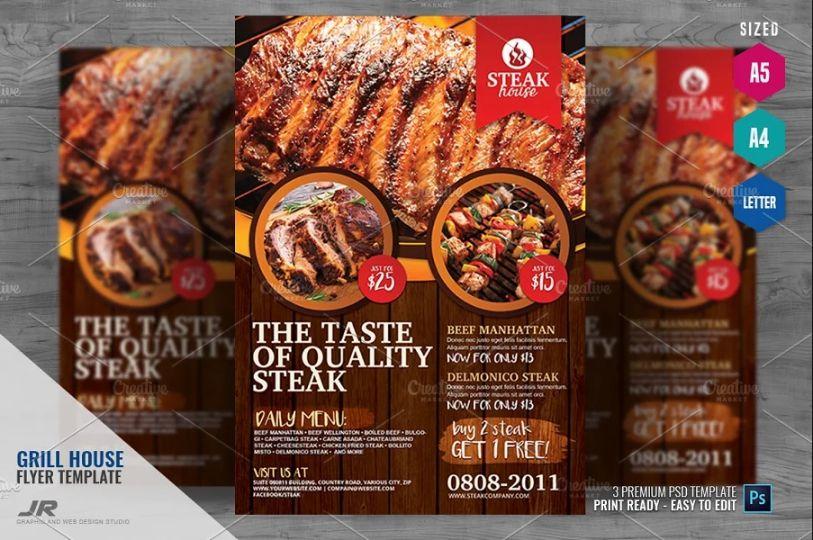 Creative Grill Restaurant Flyer Templates