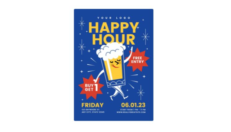 Customizable Happy Hour Flyer