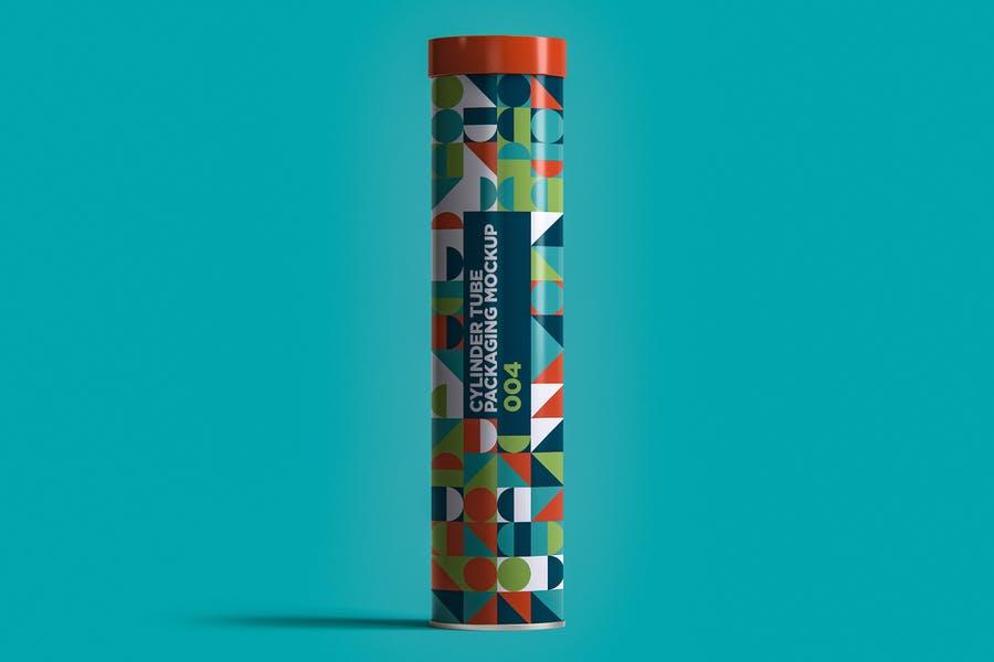 Cylindrical Tube Packaging Mockup