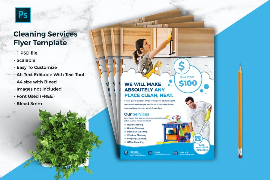 Editable Cleaning Services Flyer