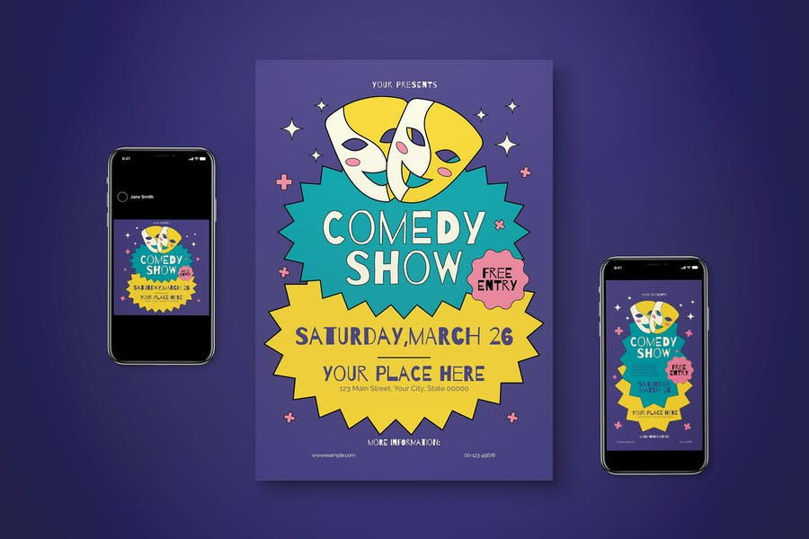Editable Comedy Flyer Set