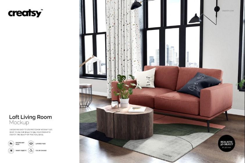 Editable Living Room Mockup Set