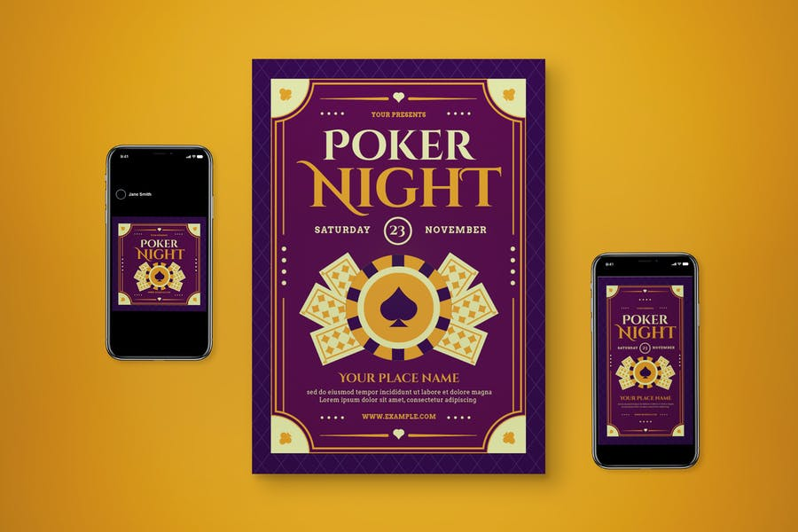 Editable Poker Flyer Night  Set