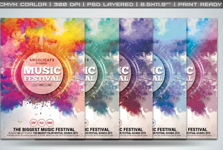 Electro Music Flyers PSD