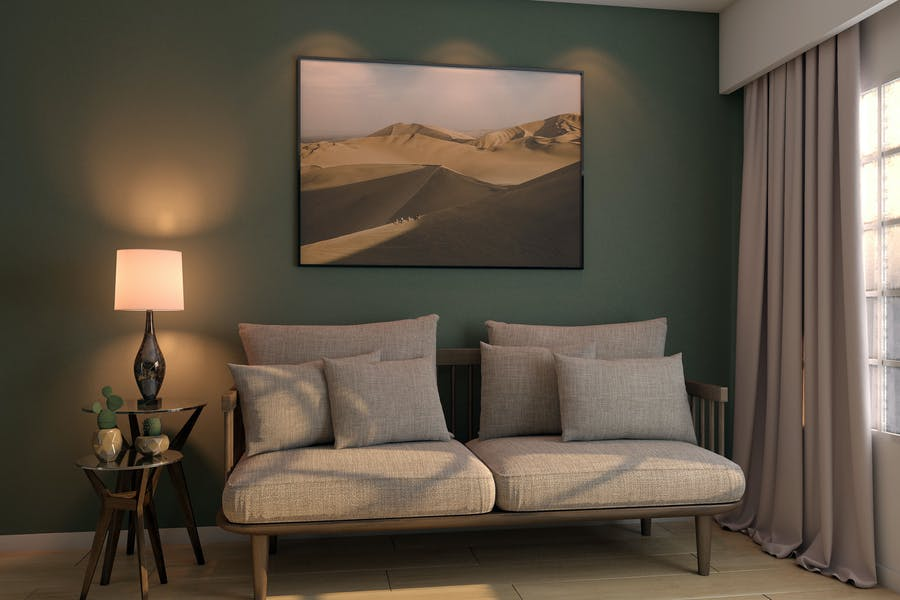Elegant Bed Room Mockup PSD