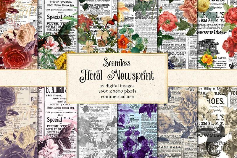 Floral Newsprint Textures