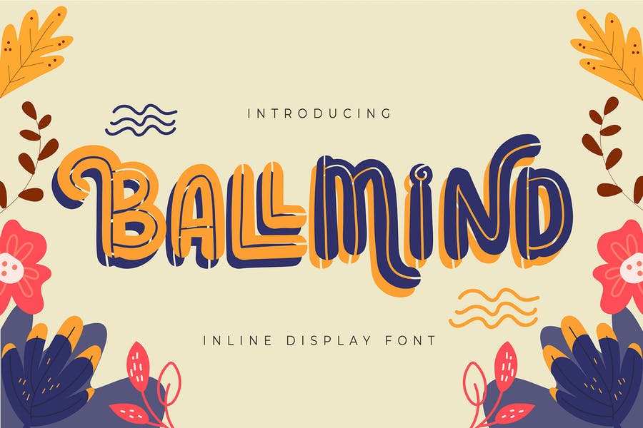 Floral Style Lined Typeface