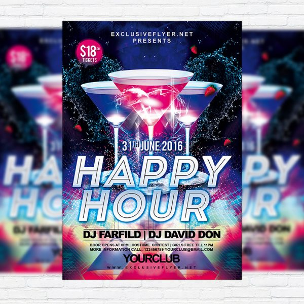Free Clean Happy Hour Flyer