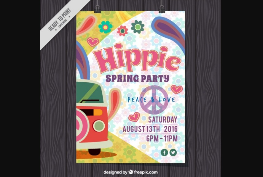 Free Hippie Party Flyer Template