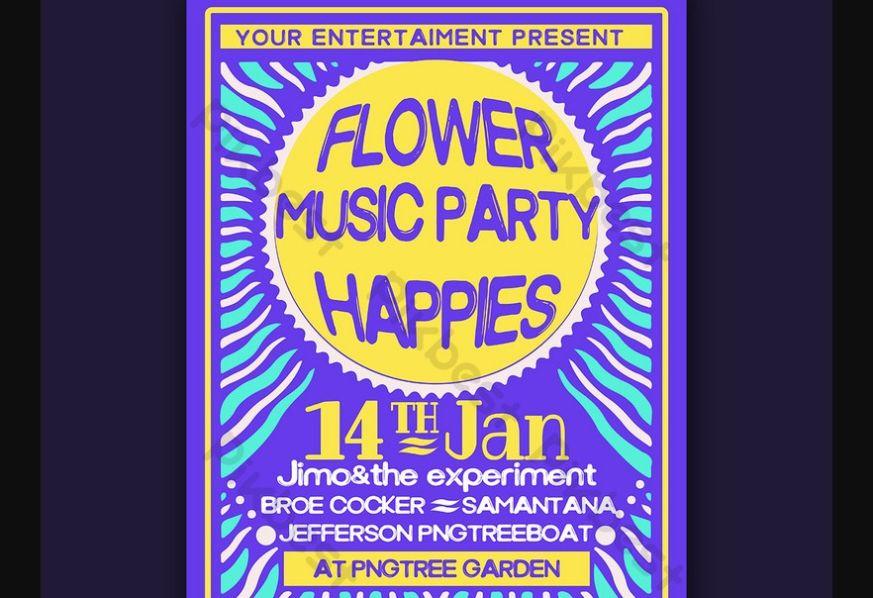 Free Hippies Music Night Flyer