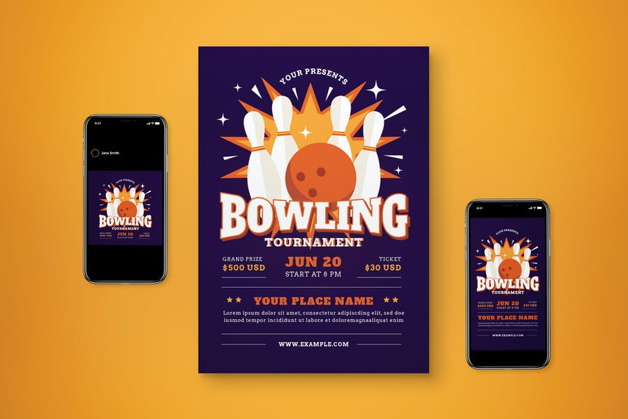 Fully Customizable Bowling Flyer Set