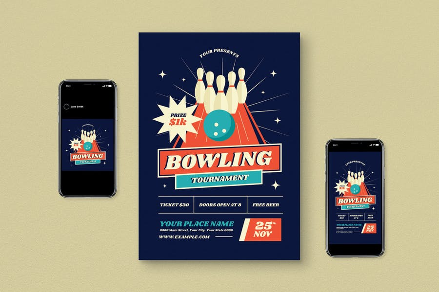 Fully Editable Bowling Flyers