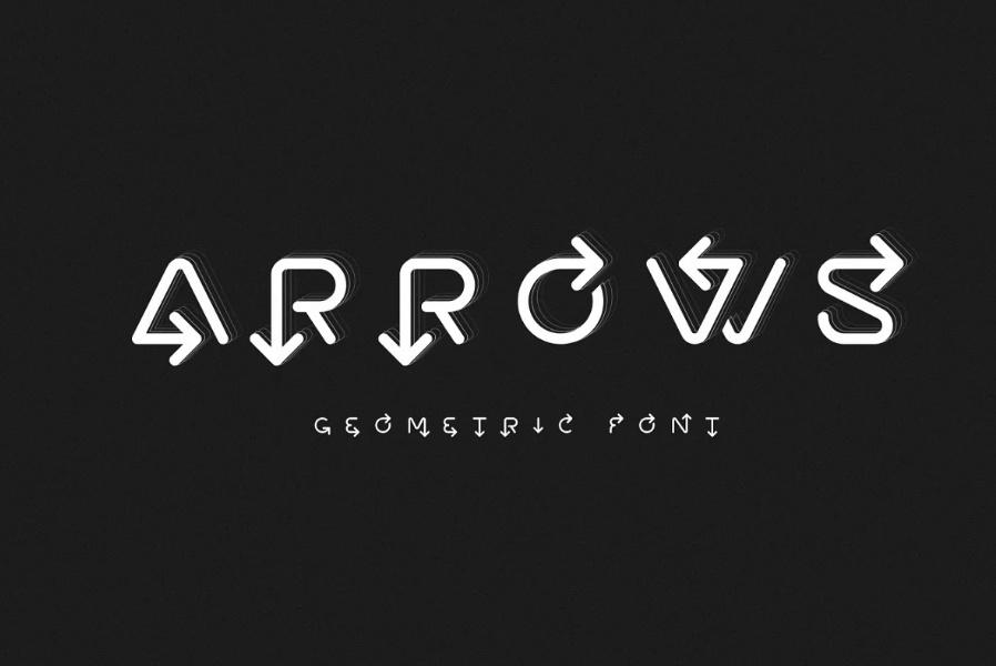 Geometric Arrow Style Fonts