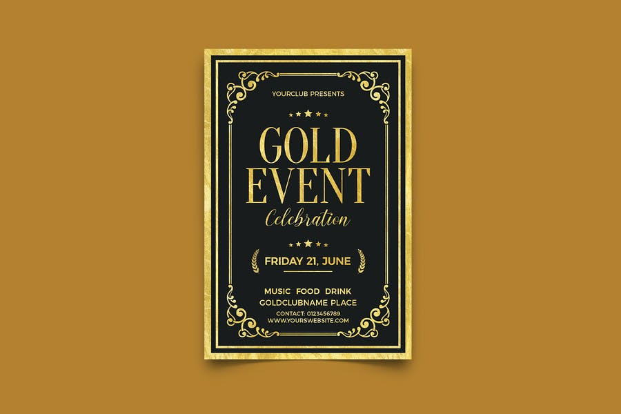 Gold Event Flyer Templates