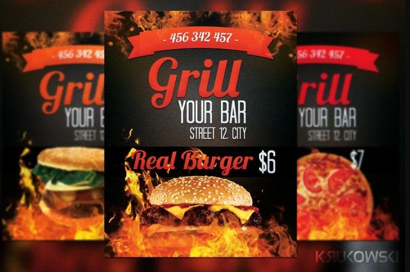 Grill Bar Flyer templates