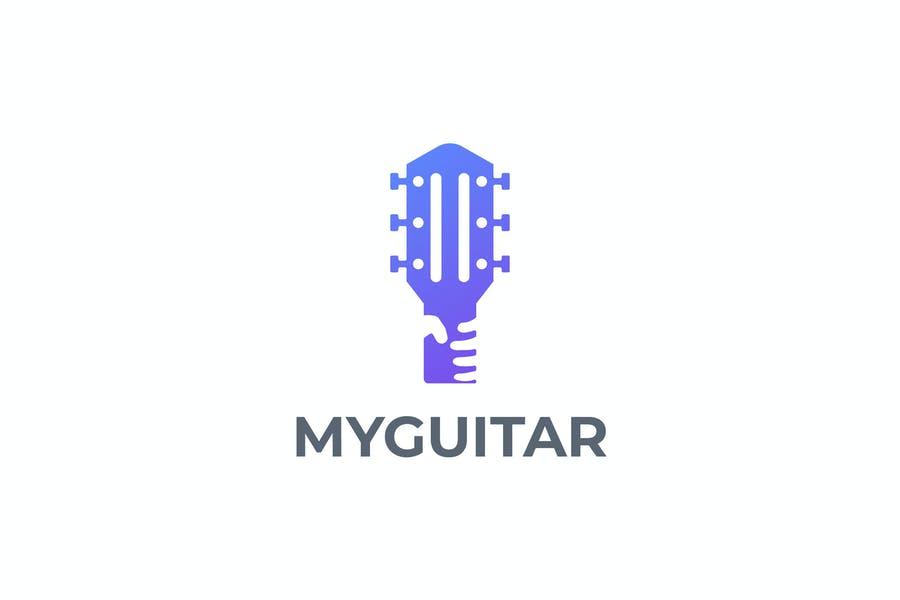 Guitar in Hand Logo Template
