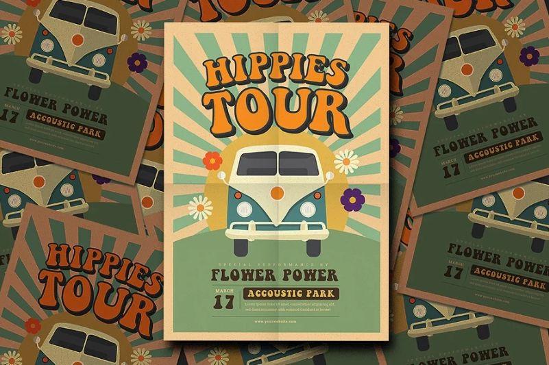 Hippies Party Flyer Templates