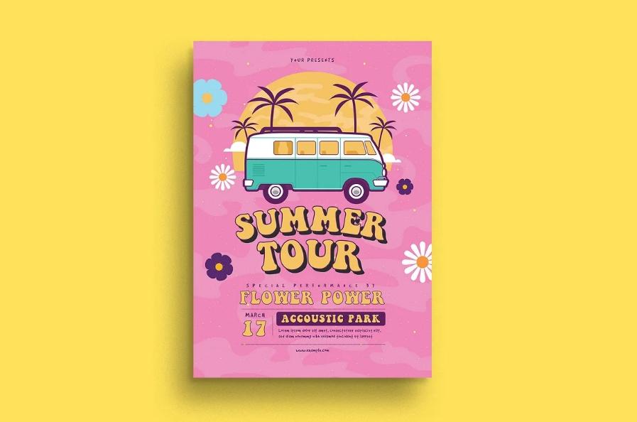 Hippies Summer Tour Flyer Templates