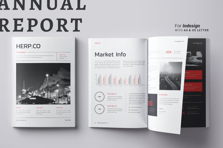 InDesign Annual Report Brochure Layout